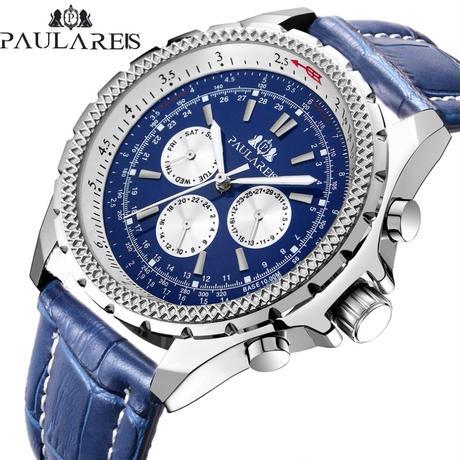 PAULAREIS P メンズ 自動巻腕時計 48mm レザーバンド ブライトリングスタイル