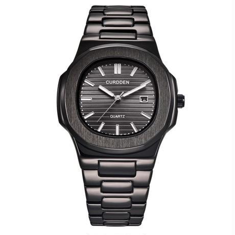CURDDEN メンズ クォーツ腕時計 ノーチラススタイル ブラック/シルバー/ゴールド