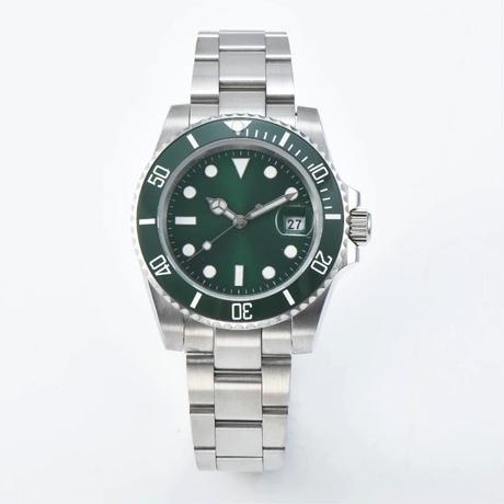 メンズ 自動巻腕時計 40mm グリーンサブスタイル サファイアクリスタル セラミックベゼル