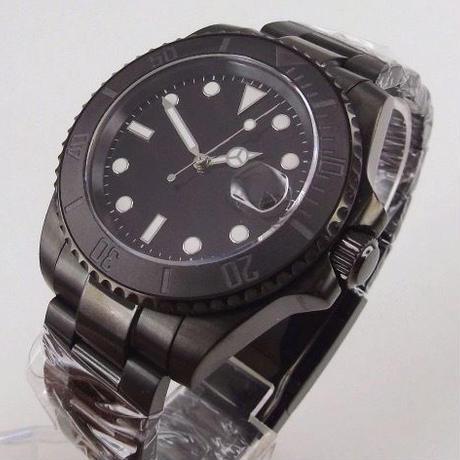 メンズ 自動巻腕時計 サブマリーナスタイル 40mm ロゴなし オールブラック サファイアクリスタル