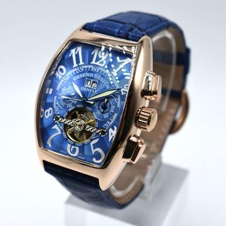 CASENO トゥールビヨンスタイル  自動巻き 機械式腕時計 クロノグラフ メンズ レザーストラップ 8色展開