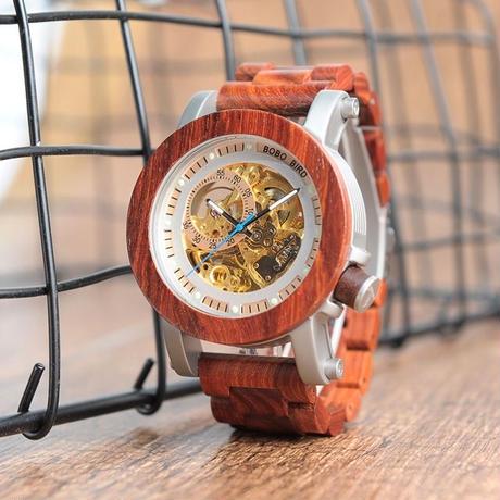 BOBO BIRD 木製腕時計 スケルトン 自動巻腕時計 48mm ベージュ/ブラック