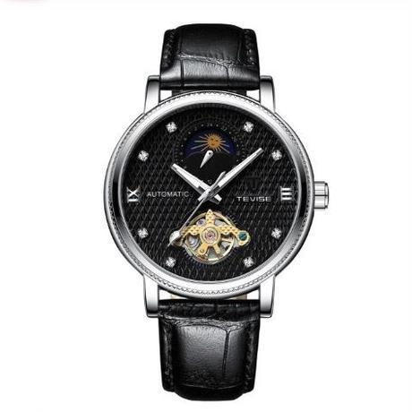 TEVISE T612 メンズ 自動巻腕時計 レザーバンド 40mm ブラック/ブルー/ホワイト