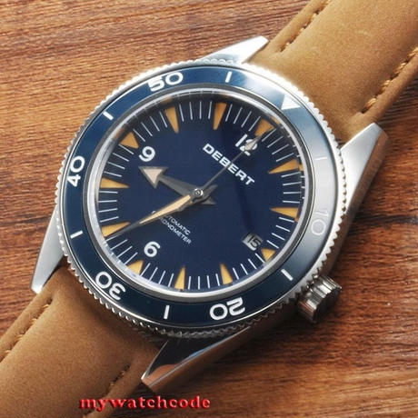 DEBERT 41mm 自動巻き 機械式腕時計 メンズ 日本ミヨタムーブ搭載 ネイビー レザーストラップ