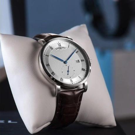Carnival メンズ 自動巻腕時計 40mm 裏スケ レザーストラップ ローマ数字 シルバー/ローズゴールド