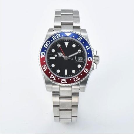 ノーロゴ腕時計  ロゴなし GMT ペプシベゼル 日本ミヨタムーブ搭載 メンズ 自動巻 機械式 40mm