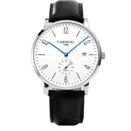 Carnival 自動巻腕時計 メンズ レザー/メッシュストラップ 30m防水 38mm