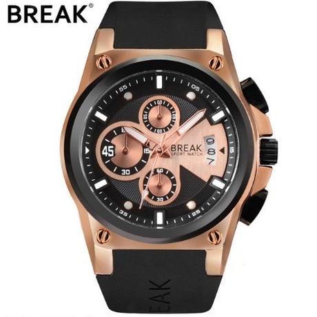 スポーツ、カジュアルシーンに Break メンズ クォーツ腕時計 ラバーストラップ