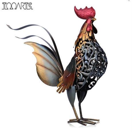 オンドリの金属彫刻 鶏 置物 インテリア装飾に