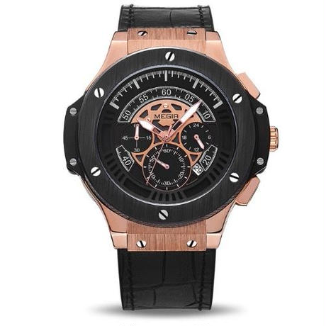 super popular a23dd 9af12 MEGIR ウブロ(HUBLOT)風 クォーツ腕時計 メンズ クロノグラフ ...