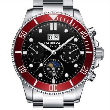 CARNIVAL メンズ 自動巻腕時計 41mm サファイアミラー 裏スケ