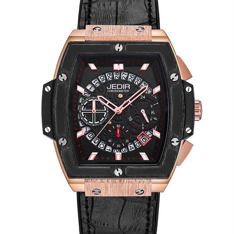 JEDIR メンズ クォーツ腕時計 レザーストラップ カラバリ3色