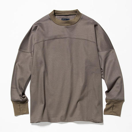 GIZA Cotton Round Yoke L/S Tee/OLIVE [MW-CT18205]