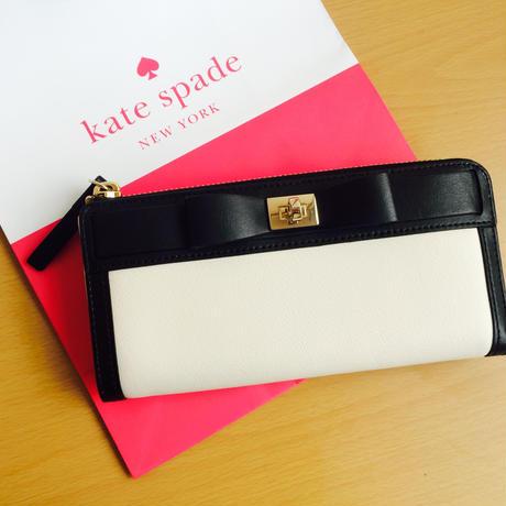 ケイトスペード リボン長財布 クリーム×ブラック