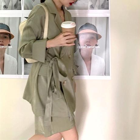 サイドリボンジャケット&ショートパンツセット/カーキ・グレー・ブラック