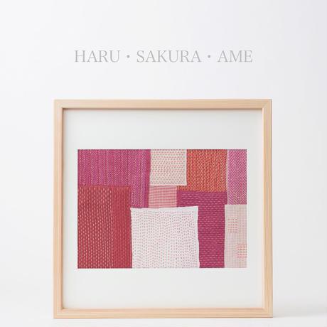 【art・一点物】SASHIKO FRAME「HARU・SAKURA・AME」/ A3