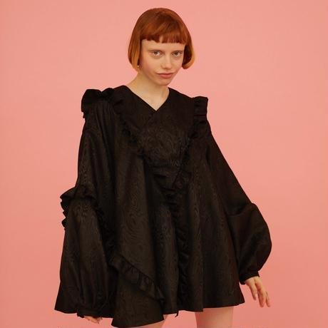 3D FRILL DRESS  Black
