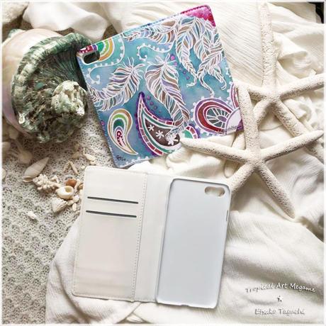 手帳型ベルトなしiPhoneケース Paisley