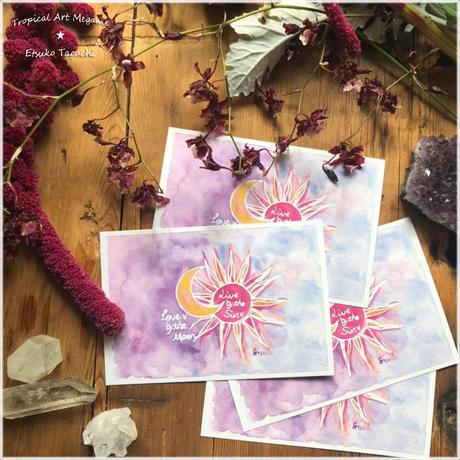 太陽と月ポストカード