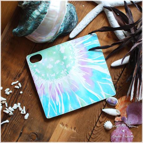 手帳型ベルトなしiPhoneケース sunflower(ブルー)
