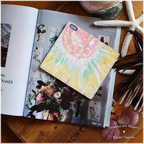 手帳型ベルトなしiPhoneケース sunflower(ピンク)
