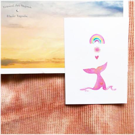 虹太陽ハートしっぽポストカード