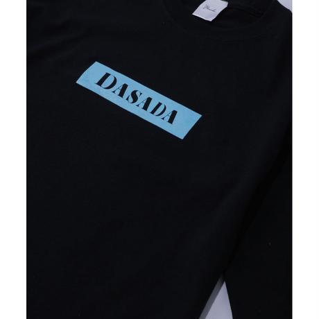 DASADA レクタングルロゴ ロンT【ブラック×スカイブルー】(D-016)