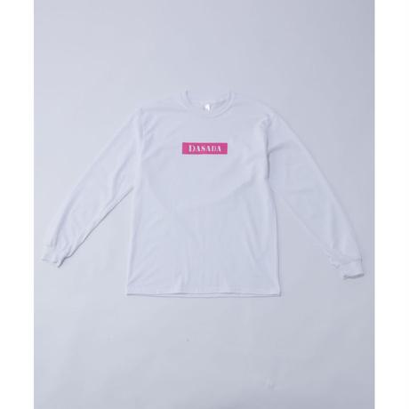DASADA レクタングルロゴ ロンT【ホワイト×ピンク】(D-016)