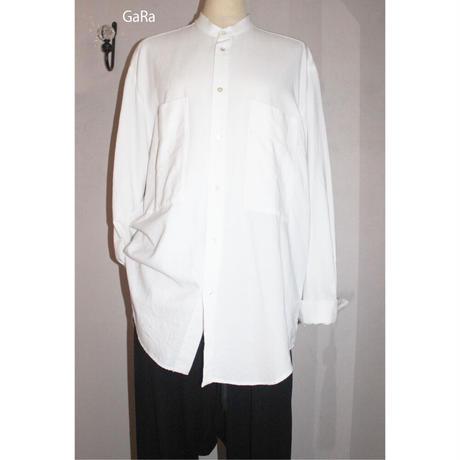 Ga_Ra・ガラ・G19S-208WH・ゆったりシャツ・スタンドカラーWhite