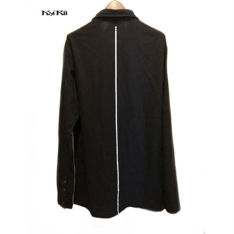 KMRii ・ケムリ・ Splash Cotton  Ramie Shirt・黒シャツ・バックストライプ