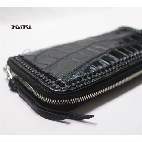 KMRii ・ケムリ・長財布・WB-CDL-03 ・クロコ・ウォレット・Black