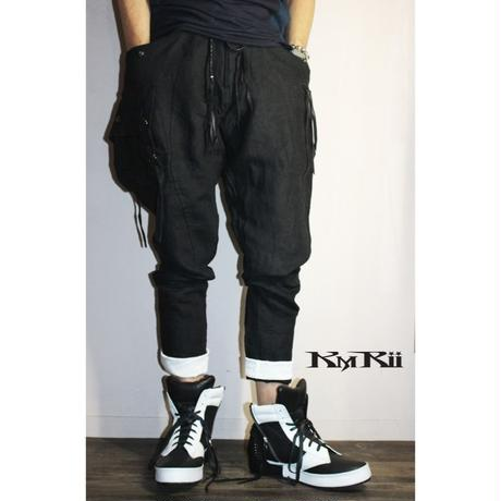 KMRii ・ケムリ・LINEN CARGO PANTS・ブラック・リネンパンツ