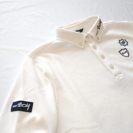 【ZOY】MENS ワッフル 長袖ポロシャツ ホワイト/071404010