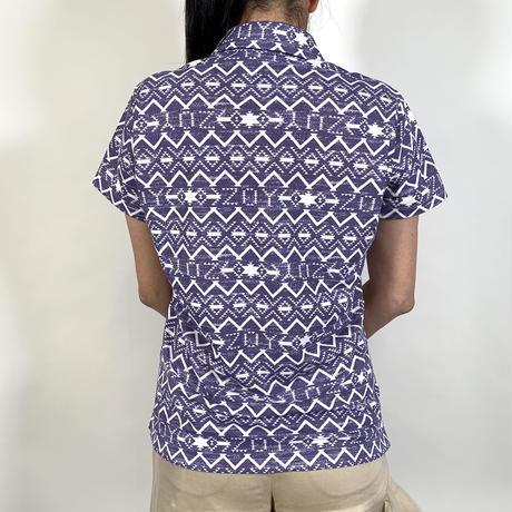 【ZOY】WOMENS NATIVEプリントポロシャツ パープル/071612003