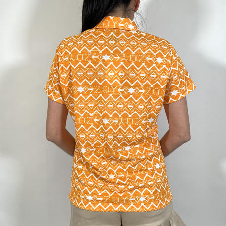 【ZOY】WOMENS NATIVEプリントポロシャツ オレンジ/071612003