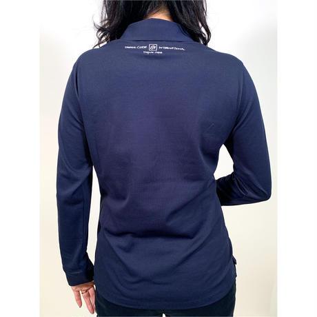 【ZOY】WOMENS ファンクショナルストレッチ鹿の子長袖ポロシャツ ネイビー/071729072