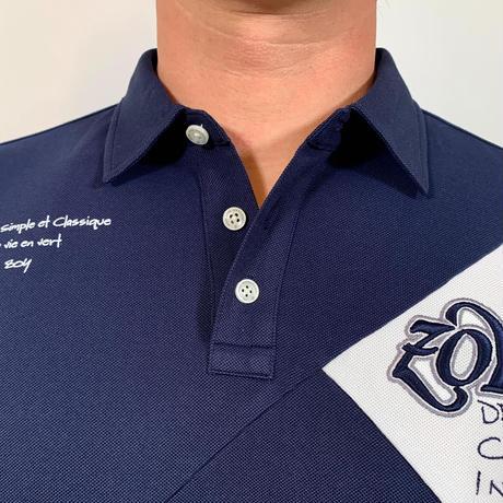 【ZOY】MENS ファンクショナルストレッチ鹿の子長袖ポロシャツ ネイビー/071729022