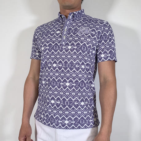 【ZOY】MENS NATIVEプリントポロシャツ パープル/071412003