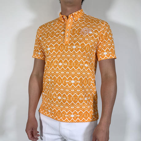 【ZOY】MENS NATIVEプリントポロシャツ オレンジ/071412003