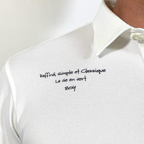 【ZOY】MENS ファンクショナルストレッチ鹿の子長袖ポロシャツ ホワイト/071729022