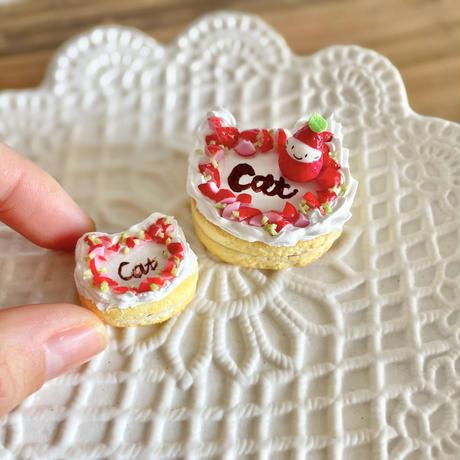 苺祭り|苺の猫型ケーキmini|ミニチュア(皿付き)