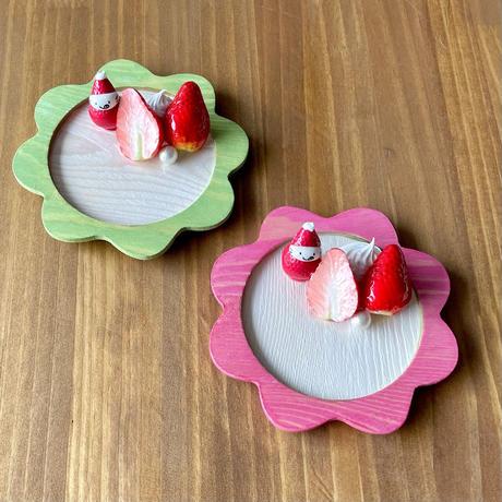 苺祭り|苺オブジェ付き木製トレー