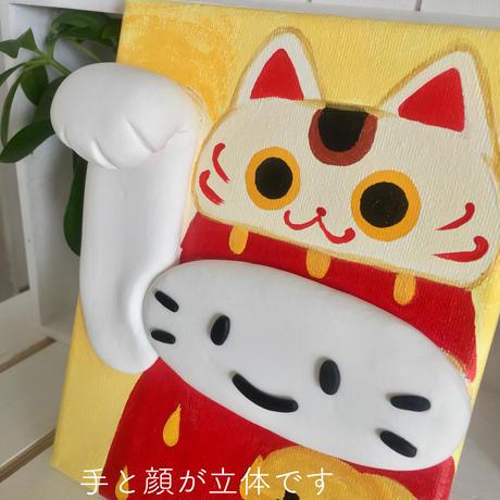 苺ぼうやの飛び出すアクリル画(一点もの)/右手の招き猫