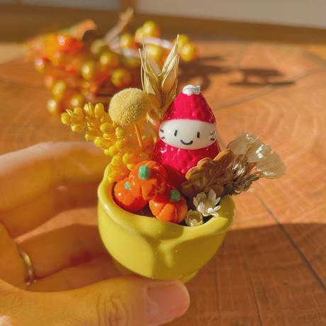 秋の苺ぼうや チューリップの器 秋のお飾り