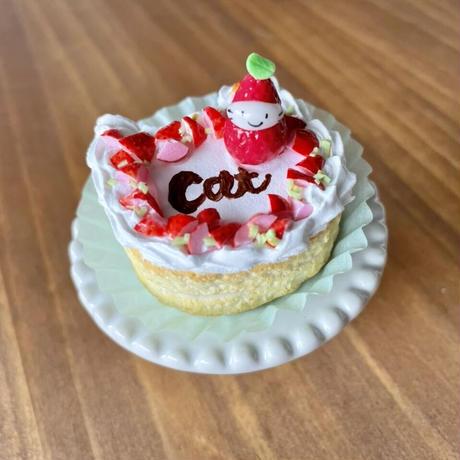 苺祭り|苺の猫型ケーキ|オブジェ(ケーキ台付き)