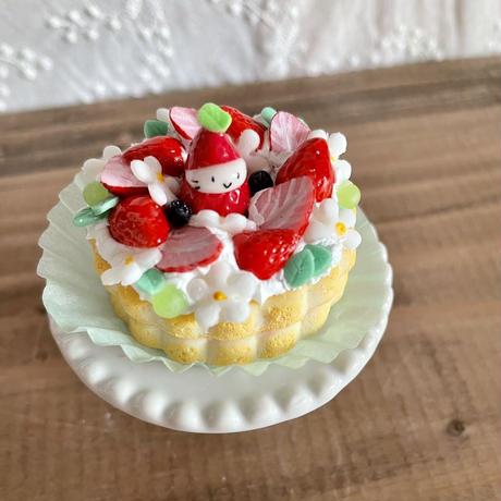 苺祭り 苺の花型リングケーキ オブジェ(ケーキ台付き)