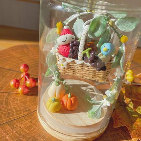 カゴとアーチの苺ぼうや|秋のガラスドームL