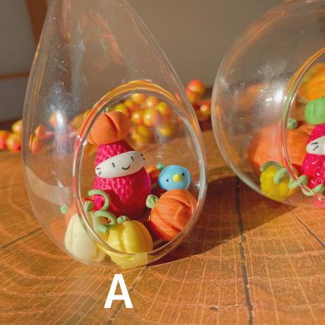 かぼちゃの苺ぼうや|秋のガラスドーム|2種