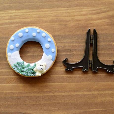 冬のお飾りシロクマminiリース|イーゼル付き