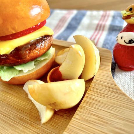 ハンバーガーのポテト添え 小物トレー兼メモスタンド兼ペンスタンド 机上の空腹
